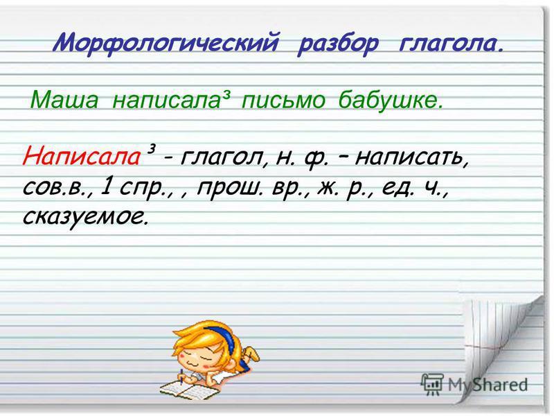 Морфологический разбор глагола. Маша написала³ письмо бабушке. Написала³ - глагол, н. ф. – написать, сов.в., 1 спр.,, прош. вр., ж. р., ед. ч., сказуемое.