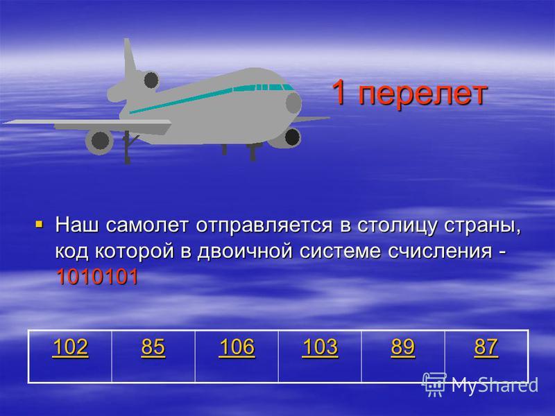 1 перелет Наш самолет отправляется в столицу страны, код которой в двоичной системе счисления - 1010101 Наш самолет отправляется в столицу страны, код которой в двоичной системе счисления - 1010101 102 85 106 103 89 87