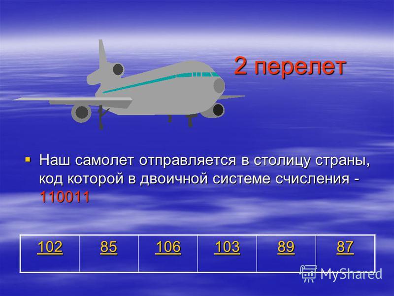 2 перелет Наш самолет отправляется в столицу страны, код которой в двоичной системе счисления - 110011 Наш самолет отправляется в столицу страны, код которой в двоичной системе счисления - 110011 102 85 106 103 89 87