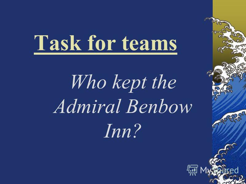 Task for teams Who kept the Admiral Benbow Inn?