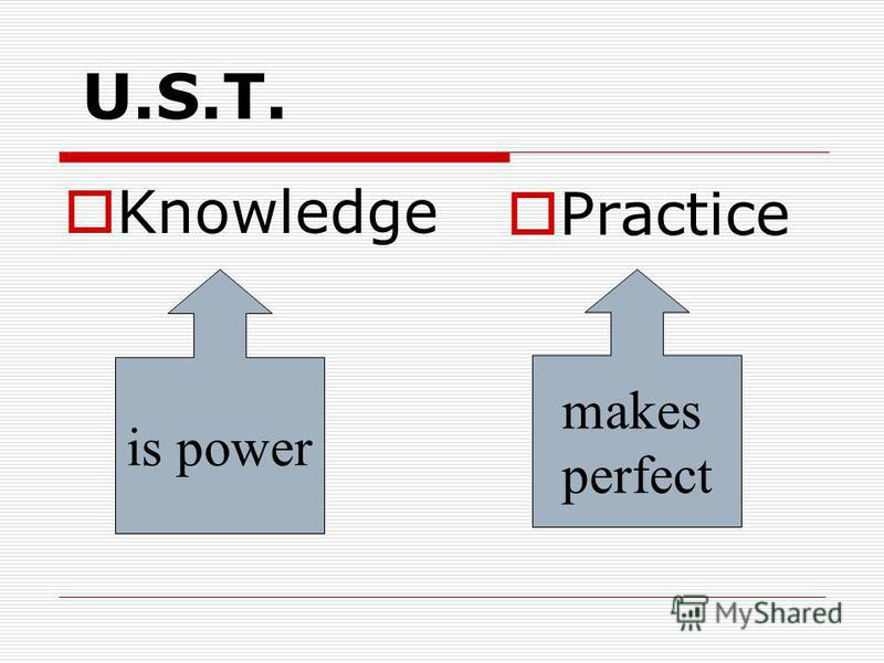U.S.T. Knowledge Practice is power makes perfect