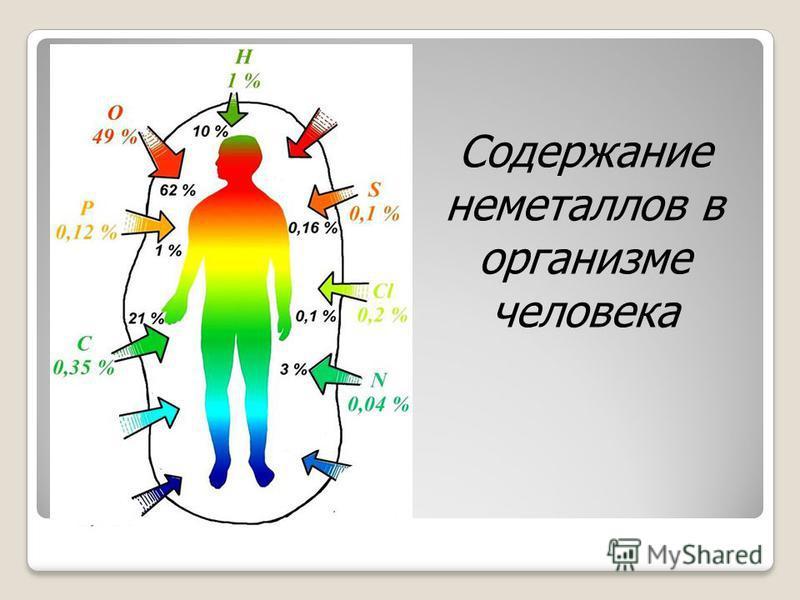 Содержание неметаллов в организме человека