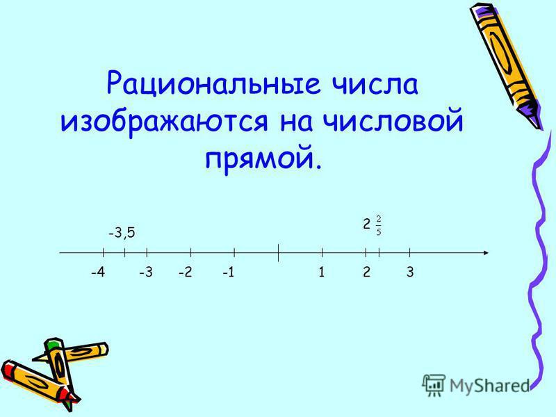Рациональные числа изображаются на числовой прямой. -4-3-2123 -3,5 2