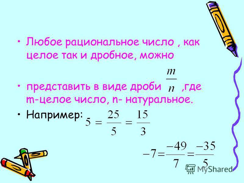 Любое рациональное число, как целое так и дробное, можно представить в виде дроби,где m-целое число, n- натуральное. Например: