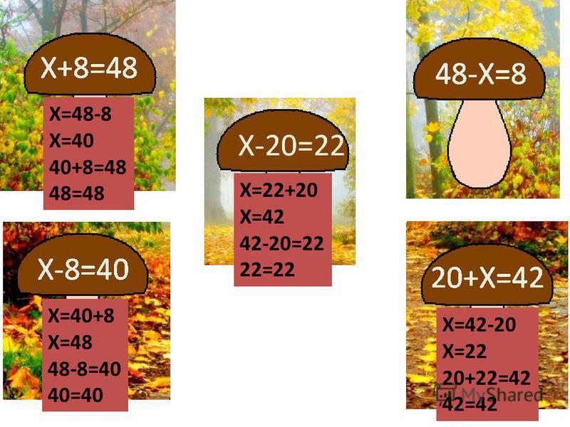 X=48-8 X=40 40+8=48 48=48 X=42-20 X=22 20+22=42 42=42 X=22+20 X=42 42-20=22 22=22 X=40+8 X=48 48-8=40 40=40