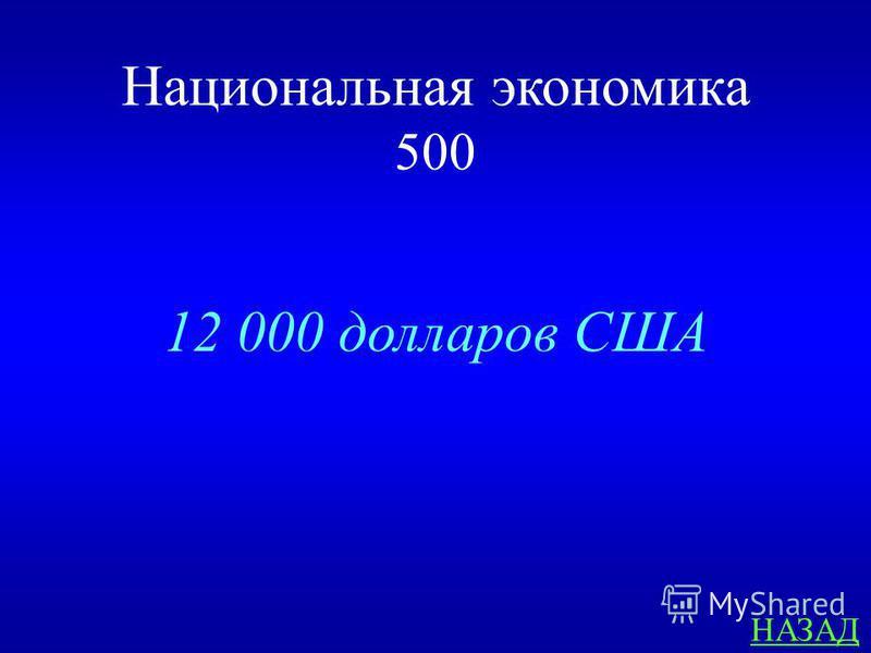 Национальная экономика 500 ОТВЕТ ВВП на душу населения в 2012 году составил …