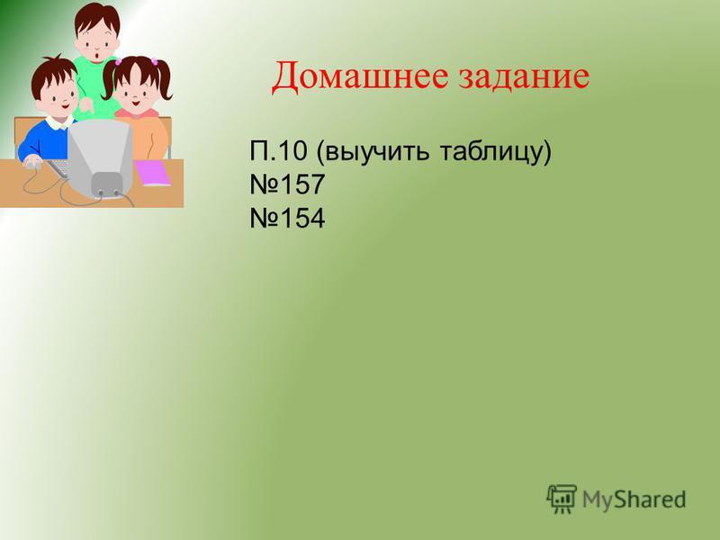 Домашнее задание П.10 (выучить таблицу) 157 154