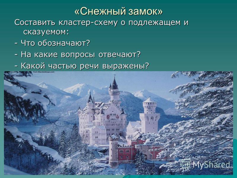 «Снежный замок» Составить кластер-схему о подлежащем и сказуемом: - Что обозначают? - На какие вопросы отвечают? - Какой частью речи выражены?