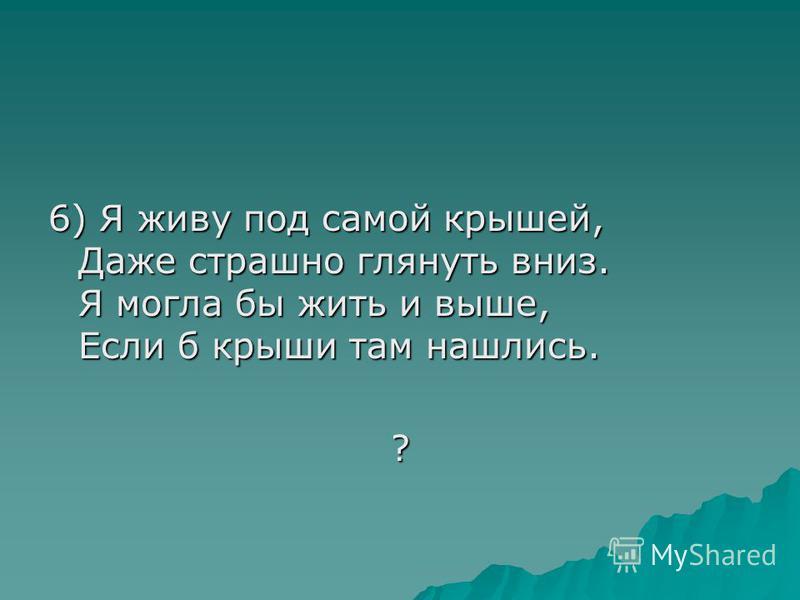 6) Я живу под самой крышей, Даже страшно глянуть вниз. Я могла бы жить и выше, Если б крыши там нашлись. ?