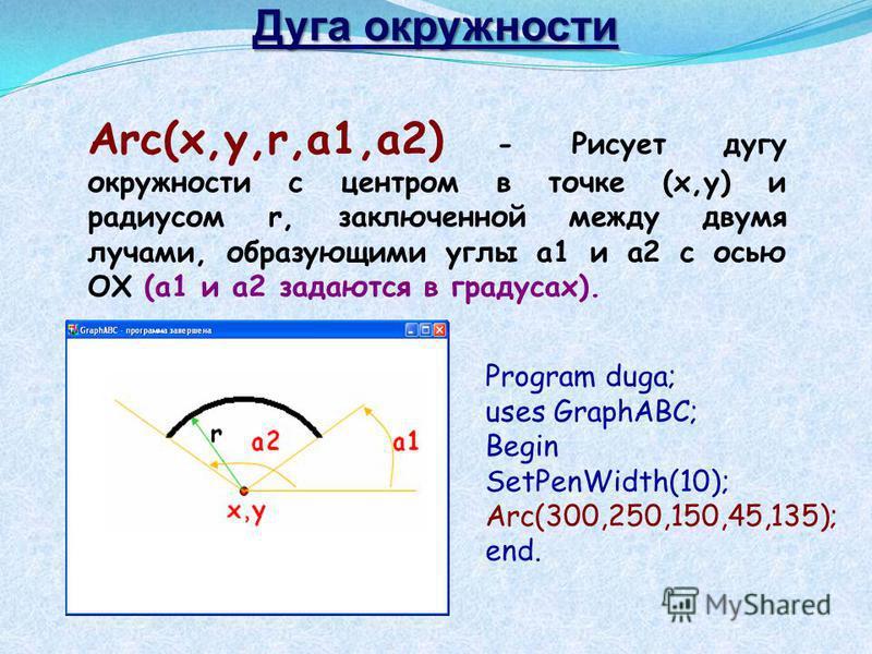 Дуга окружности Arc(x,y,r,a1,a2) - Рисует дугу окружности с центром в точке (x,y) и радиусом r, заключенной между двумя лучами, образующими углы a1 и a2 с осью OX (a1 и a2 задаются в градусах). Program duga; uses GraphABC; Begin SetPenWidth(10); Arc(