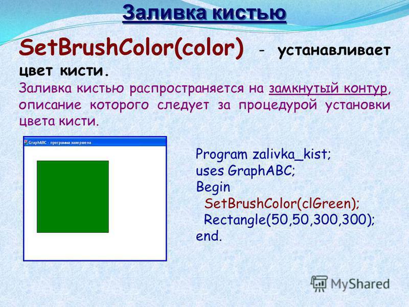 SetBrushColor(color) - устанавливает цвет кисти. Заливка кистью распространяется на замкнутый контур, описание которого следует за процедурой установки цвета кисти. Program zalivka_kist; uses GraphABC; Begin SetBrushColor(clGreen); Rectangle(50,50,30