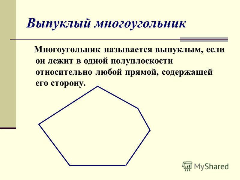 Выпуклый многоугольник Многоугольник называется выпуклым, если он лежит в одной полуплоскости относительно любой прямой, содержащей его сторону.
