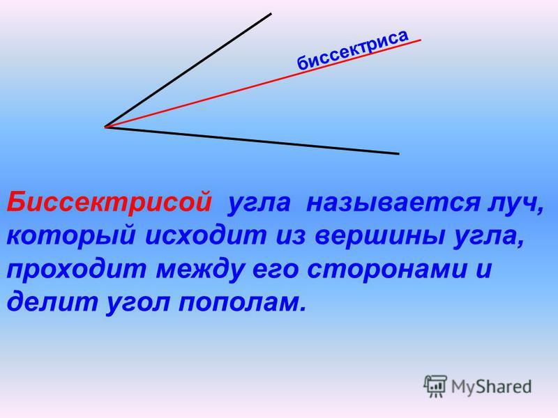 биссектриса Биссектрисой угла называется луч, который исходит из вершины угла, проходит между его сторонами и делит угол пополам.