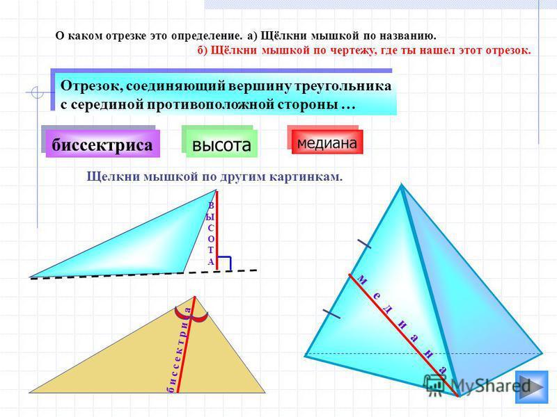 высота биссектриса О каком отрезке это определение. а) Щёлкни мышкой по названию. б) Щёлкни мышкой по чертежу, где ты нашел этот отрезок. Отрезок, соединяющий вершину треугольника с серединой противоположной стороны … Отрезок, соединяющий вершину тре