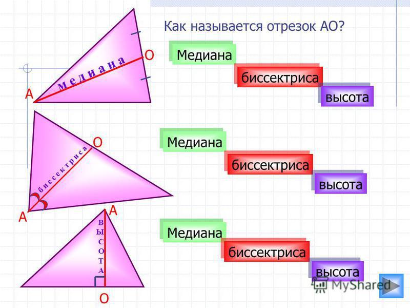 Как называется отрезок АО? Медиана биссектриса высота м е д и а н а Медиана биссектриса высота б и с с е к т р и с а В Ы С О Т А А А А О О О