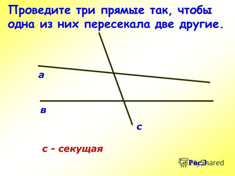 Проведите три прямые так, чтобы одна из них пересекала две другие. в с с - секущая а Рис.3