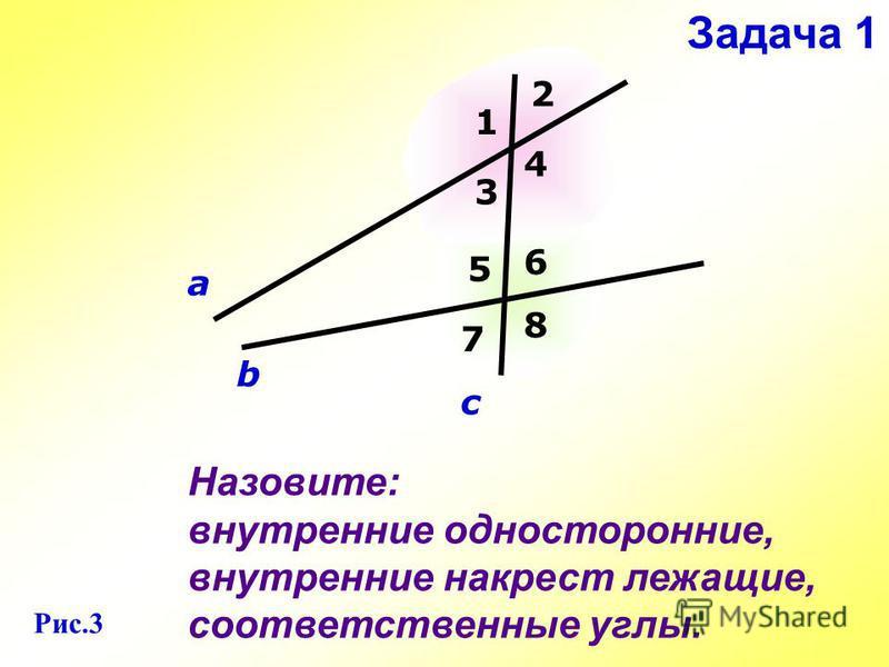 Назовите: внутренние односторонние, внутренние накрест лежащие, соответственные углы. а b c 1 2 3 4 5 6 7 8 Задача 1 Рис.3