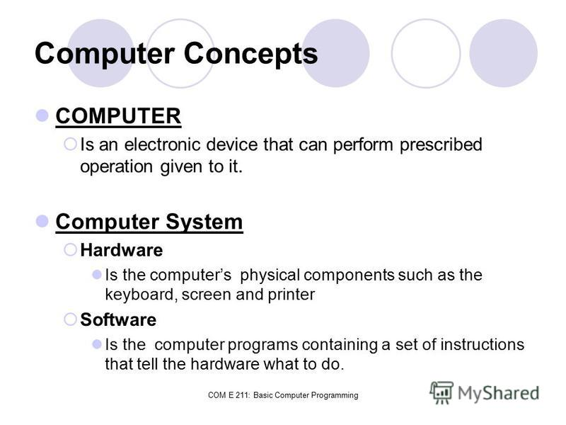 COM E 211: Basic Computer Programming Computer Concepts COMPUTER Is an electronic device that can perform prescribed operation given to it. Computer System Hardware Is the computers physical components such as the keyboard, screen and printer Softwar