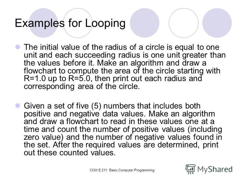 COM E 211: Basic Computer Programming Examples for Looping The initial value of the radius of a circle is equal to one unit and each succeeding radius is one unit greater than the values before it. Make an algorithm and draw a flowchart to compute th