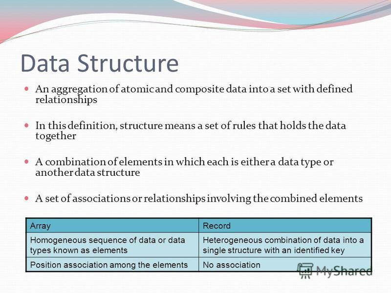 Data Structure An aggregation of atomic and composite data into a set with defined relationships In this definition, structure means a set of rules that holds the data together A combination of elements in which each is either a data type or another