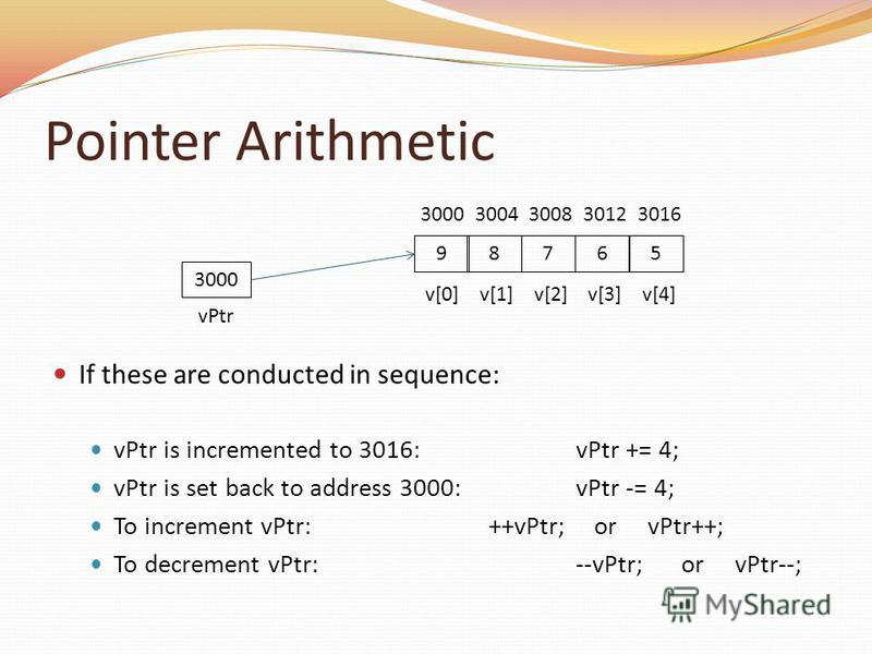 Pointer Arithmetic If these are conducted in sequence: vPtr is incremented to 3016:vPtr += 4; vPtr is set back to address 3000:vPtr -= 4; To increment vPtr:++vPtr; or vPtr++; To decrement vPtr:--vPtr; or vPtr--; 3000 vPtr 59876 v[0] v[1] v[2] v[3] v[