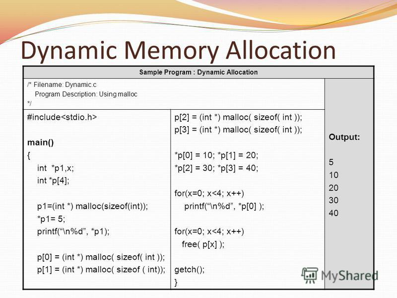 Dynamic Memory Allocation Sample Program : Dynamic Allocation /* Filename: Dynamic.c Program Description: Using malloc */ Output: 5 10 20 30 40 #include main() { int *p1,x; int *p[4]; p1=(int *) malloc(sizeof(int)); *p1= 5; printf(\n%d, *p1); p[0] =