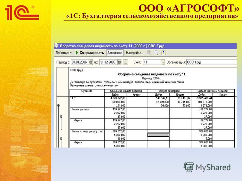 ООО «АГРОСОФТ» «1С: Бухгалтерия сельскохозяйственного предприятия»