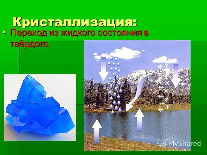 Кристаллизация: Переход из жидкого состояния в твёрдого. Переход из жидкого состояния в твёрдого.