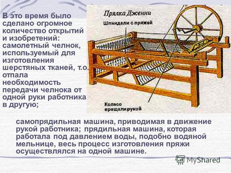 В это время было сделано огромное количество открытий и изобретений: самолетный челнок, используемый для изготовления шерстяных тканей, т.о. отпала необходимость передачи челнока от одной руки работника в другую; само прядильная машина, приводимая в