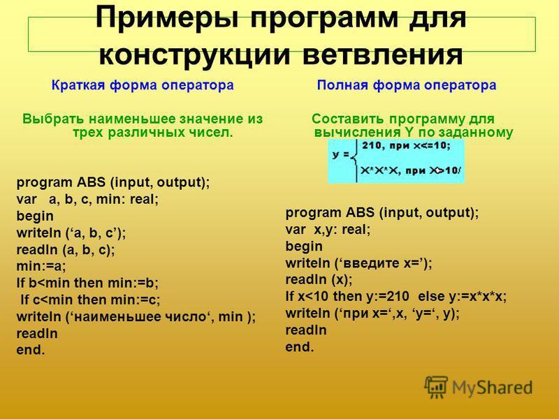 Примеры программ для конструкции ветвления Краткая форма оператора Выбрать наименьшее значение из трех различных чисел. program ABS (input, output); var a, b, c, min: real; begin writeln (a, b, c); readln (a, b, c); min:=a; If b<min then min:=b; If c
