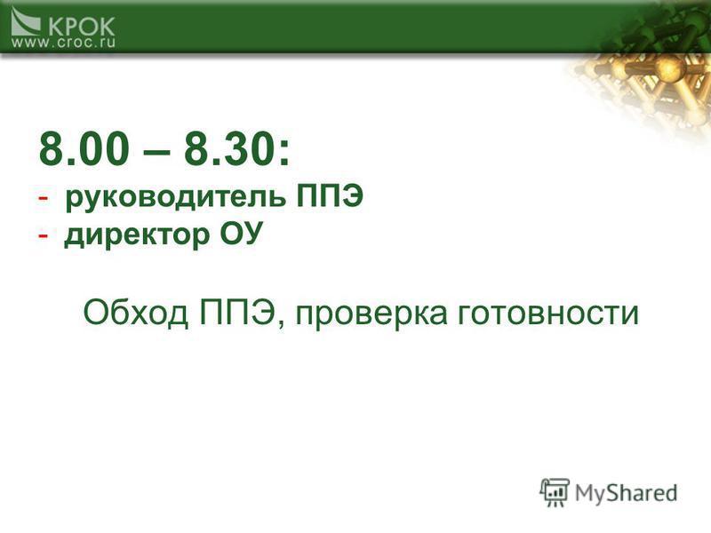 8.00 – 8.30: -руководитель ППЭ -директор ОУ Обход ППЭ, проверка готовности