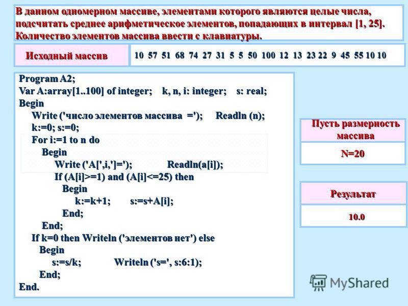 В данном одномерном массиве, элементами которого являются целые числа, подсчитать среднее ттттарифметическое элементов, попадающих в интервал [1, 25]. Количество элементов массива ввести с клавиатуры. Результат 10.0 10.0 Пусть размерность массива N=2