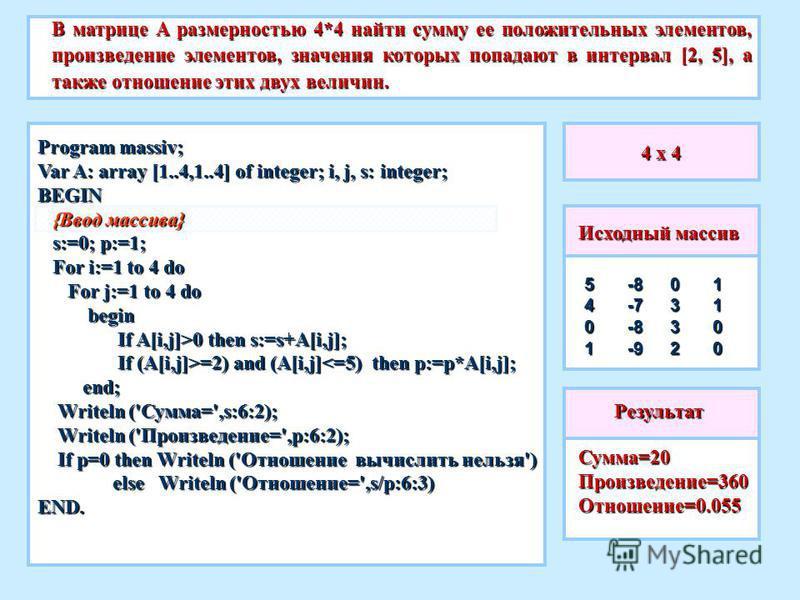 4 x 4 В матрице A размерностью 4*4 найти сумму ее положительных элементов, произведение элементов, значения которых попадают в интервал [2, 5], а также отношение этих двух величин. Сумма=20 Произведение=360Отношение=0.055 Исходный массив 540111000332