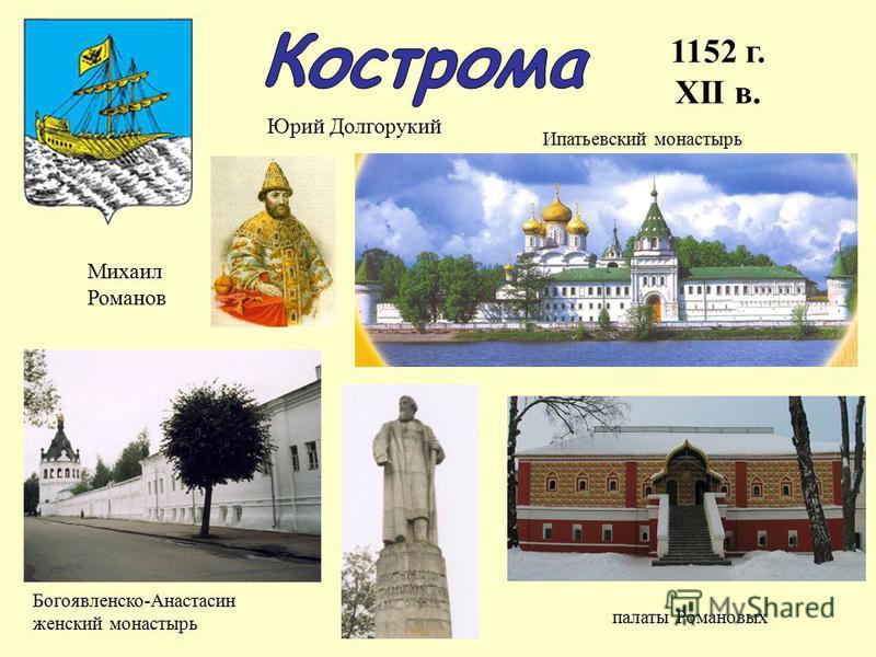 1152 г. XII в. Юрий Долгорукий Богоявленско-Анастасин женский монастырь палаты Романовых Ипатьевский монастырь Михаил Романов