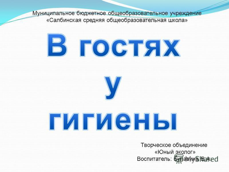 Творческое объединение «Юный эколог» Воспитатель: Булавина В.А. Муниципальное бюджетное общеобразовательное учреждение «Салбинская средняя общеобразовательная школа»