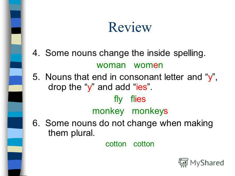 Review 4. Some nouns change the inside spelling. woman women 5. Nouns that end in consonant letter and y, drop the y and add ies. fly flies monkey monkeys 6. Some nouns do not change when making them plural. cotton