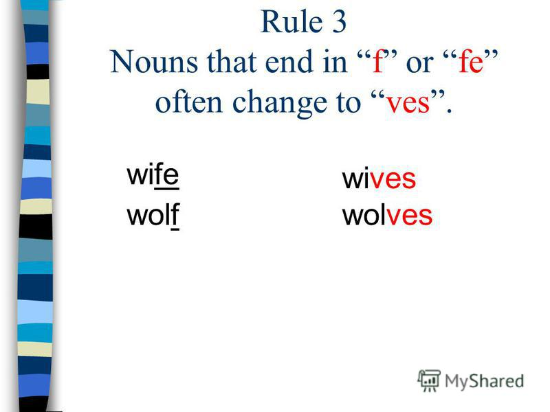 Rule 3 Nouns that end in f or fe often change to ves. wife wolf wives wolves