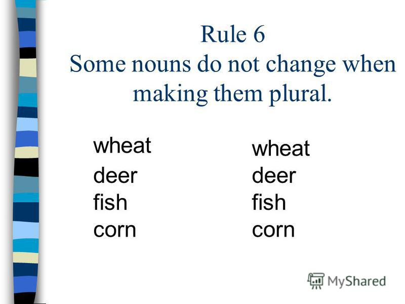 Rule 6 Some nouns do not change when making them plural. wheat deer fish corn wheat deer fish corn