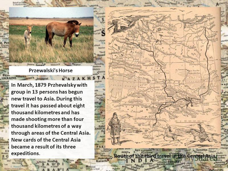 Route of the third travel in the Central Asia In March, 1879 Przhevalsky with group in 13 persons has begun new travel to Asia. During this travel it has passed about eight thousand kilometres and has made shooting more than four thousand kilometres