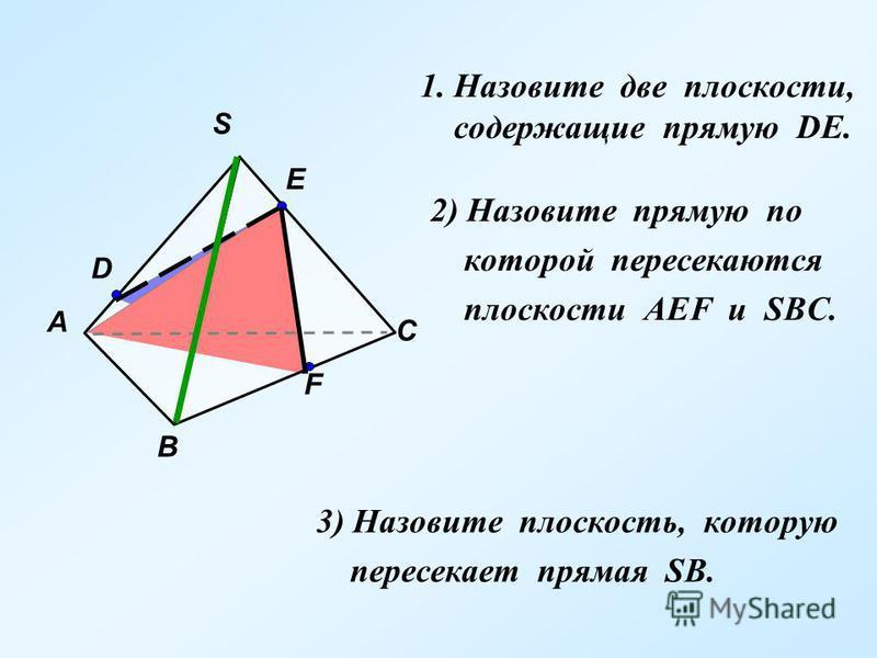 1. Назовите две плоскости, cодержащие прямую DE. 2) Назовите прямую по которой пересекаются плоскости АЕF и SBC. 3) Назовите плоскость, которую пересекает прямая SB. S В А С F E D