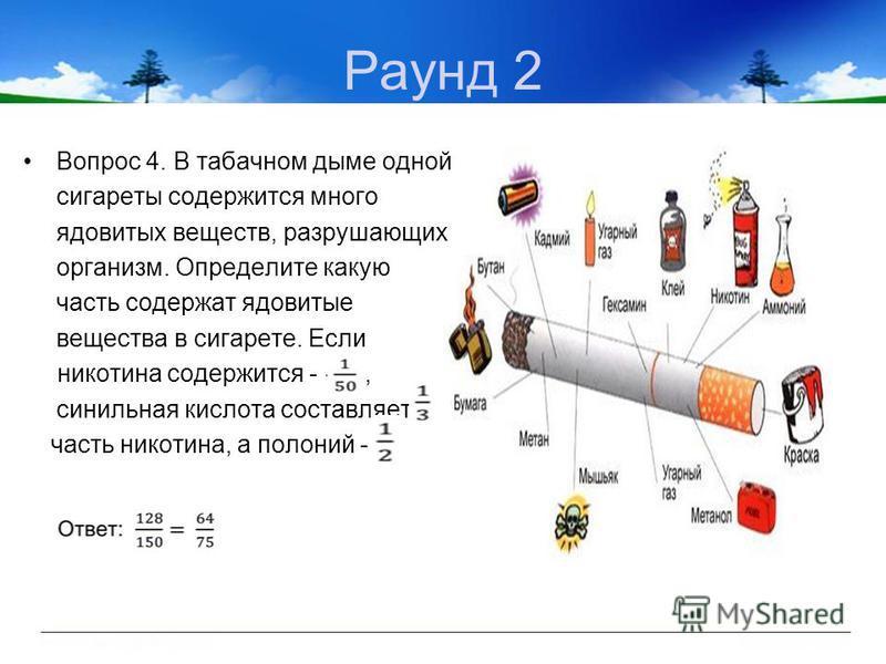 Раунд 2 Вопрос 4. В табачном дыме одной сигареты содержится много ядовитых веществ, разрушающих организм. Определите какую часть содержат ядовитые вещества в сигарете. Если никотина содержится -, синильная кислота составляет часть никотина, а полоний