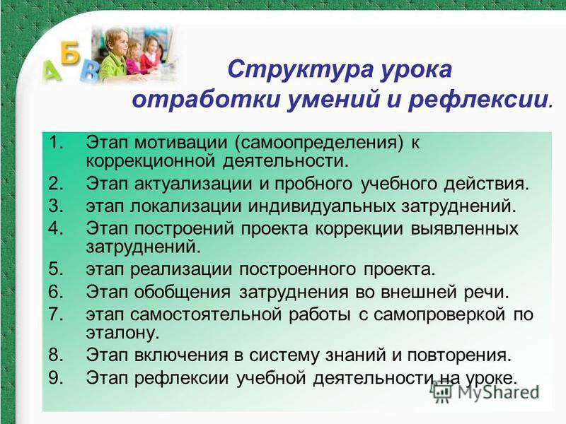 1. Этап мотивации (самоопределения) к коррекционной деятельности. 2. Этап актуализации и пробного учебного действия. 3. этап локализации индивидуальных затруднений. 4. Этап построений проекта коррекции выявленных затруднений. 5. этап реализации постр