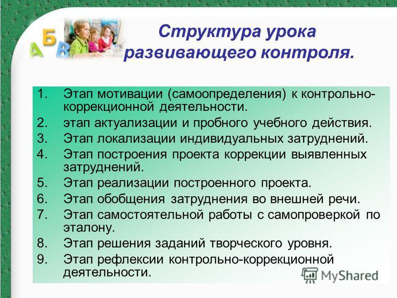 1. Этап мотивации (самоопределения) к контрольно- коррекционной деятельности. 2. этап актуализации и пробного учебного действия. 3. Этап локализации индивидуальных затруднений. 4. Этап построения проекта коррекции выявленных затруднений. 5. Этап реал
