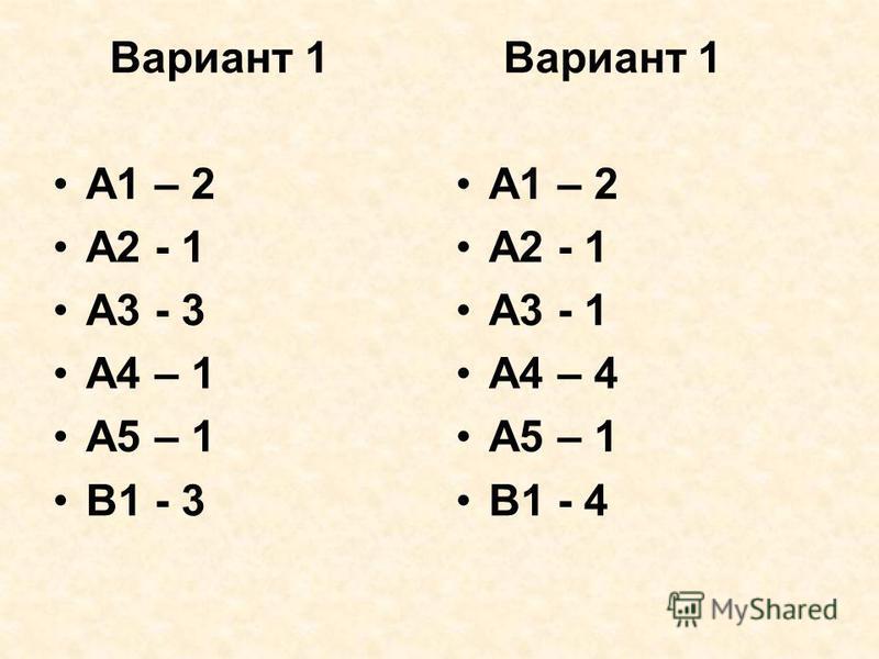 Вариант 1 А1 – 2 А2 - 1 А3 - 3 А4 – 1 А5 – 1 В1 - 3 Вариант 1 А1 – 2 А2 - 1 А3 - 1 А4 – 4 А5 – 1 В1 - 4