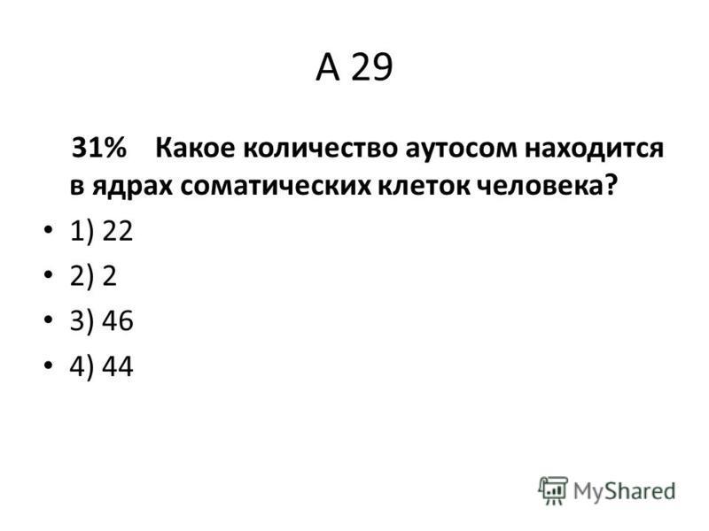 А 29 31% Какое количество аутосом находится в ядрах соматических клеток человека? 1) 22 2) 2 3) 46 4) 44