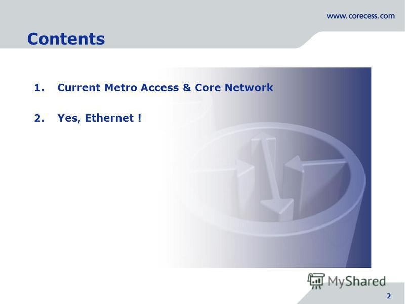 2 1. Current Metro Access & Core Network 2. Yes, Ethernet ! Simply Connecting the World 2 Contents 2