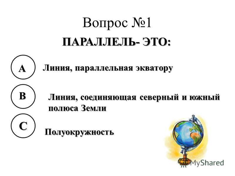 Вопрос 1 ПАРАЛЛЕЛЬ- ЭТО: A B C Линия, параллельная экватору Линия, соединяющая северный и южный полюса Земли Полуокружность