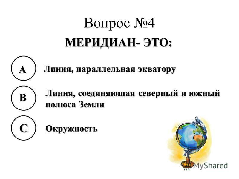 Вопрос 4 МЕРИДИАН- ЭТО: A B C Линия, параллельная экватору Линия, соединяющая северный и южный полюса Земли Окружность