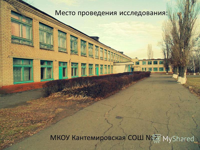 Место проведения исследования: МКОУ Кантемировская СОШ 2