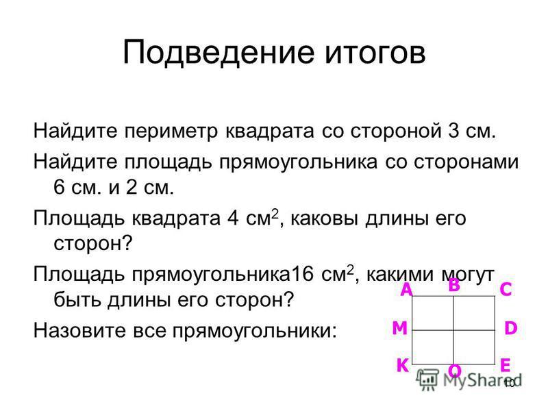 10 Подведение итогов Найдите периметр квадрата со стороной 3 см. Найдите площадь прямоугольника со сторонами 6 см. и 2 см. Площадь квадрата 4 см 2, каковы длины его сторон? Площадь прямоугольника 16 см 2, какими могут быть длины его сторон? Назовите